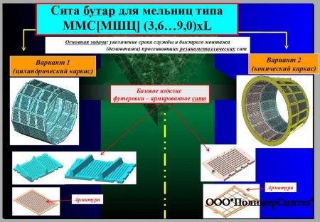 Сита бутар для мельниц типа   ММС[МШЦ] (3,6…9,0)хL